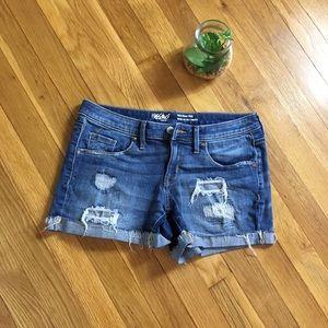 Distressed mid rise denim shorts mossimo 26